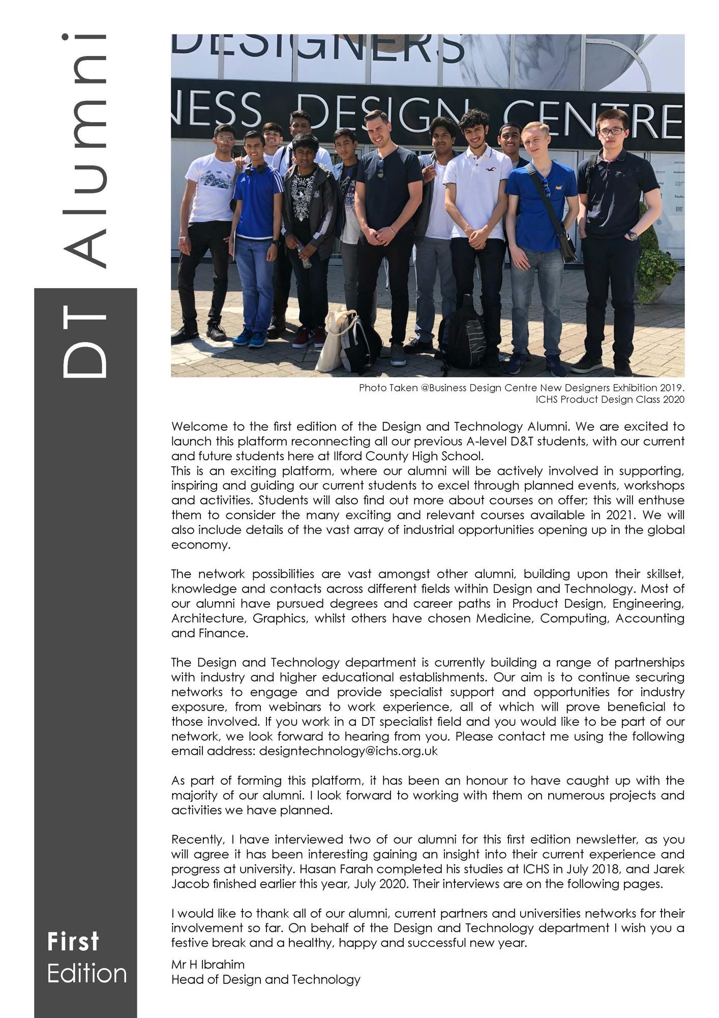 DT Alumni Newsletter   First Edition